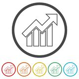 Growth chart, Business graph, 6 Colors Included. Simple  icons set Stock Photo