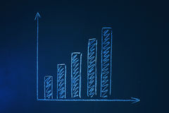 Growth chart on a chalkboard. Toned Horizontal Royalty Free Stock Photography
