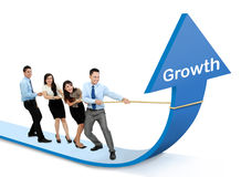 Growth chart concept. Portrait of business team pulling up bar using rope. growth chart concept Stock Images