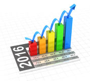 Growth chart of 2016, 3d render Stock Photography