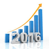 Growth chart for 2016, 3d render. 2016 growth chart, 3d render, white background stock illustration