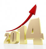 2014 growth chart. 3d rendered illustration of 2014 text and rising arrow stock illustration