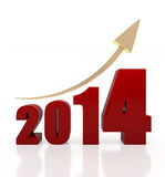 2014 growth chart. 3d rendered illustration of 2014 text and rising arrow Royalty Free Stock Image
