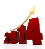 2014 growth chart. 3d rendered illustration of 2014 text and rising arrow Royalty Free Stock Photo