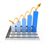 Growth chart with data, 3d render. White background Royalty Free Stock Photography