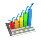 Growth chart with data, 3d render. White background Stock Photo