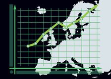 Growth chart diagram on Europe map background Royalty Free Stock Photography