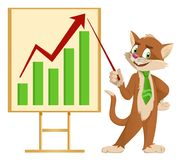 Growth chart. Funny cartoon cat in a tie making a presentation. Elements is grouped. No transparent objects. Isolated on white Royalty Free Stock Photos