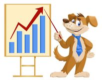 Growth chart. Funny cartoon dog in a tie making a presentation. Elements is grouped. No transparent objects. Isolated on white Stock Image