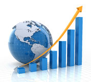 Growth chart with globe, 3d render Royalty Free Stock Images