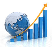 Growth chart with globe, 3d render Stock Photo