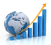 Growth chart with globe, 3d render. White background Royalty Free Stock Image