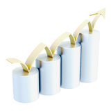 Growth chart with golden arrow isolated on white background. 3d. Rendering Royalty Free Stock Images