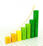 2016 growth chart. Green 2016 growth chart on white background. Bar graph with rising arrow Vector Illustration