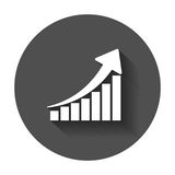 Growth chart icon. Grow diagram flat vector illustration. Busine Royalty Free Stock Photography