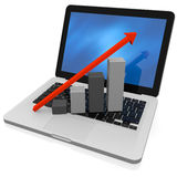 Growth chart on keyboard. 3D render of growth chart on a laptop screen Stock Image