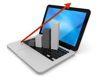 Growth chart on keyboard. 3D render of growth chart on a laptop screen Royalty Free Stock Photography