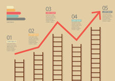 Growth chart with ladders infographic Stock Image