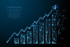 Growth chart low poly blue. Abstract image of a growth chart in the form of a starry sky or space, consisting of points, lines, and shapes in the form of planets Stock Images