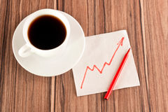 Growth chart on a napkin Royalty Free Stock Images