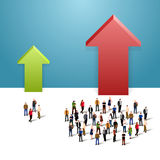 Growth chart and progress in people crowd Stock Images