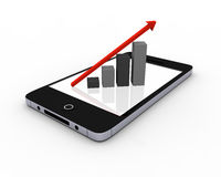 Growth chart on smartphone Stock Photography