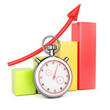 Growth chart and stopwatch Stock Photos
