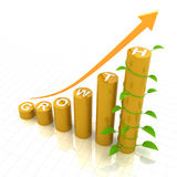 Growth chart with young plant, 3d render Royalty Free Stock Image