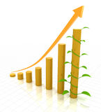 Growth chart with young plant, 3d render Royalty Free Stock Images
