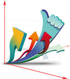 Growth charts. Showing that all is well Vector Illustration