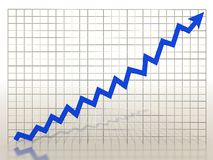 Growth charts from the blue arrows Royalty Free Stock Images