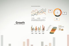 Growth charts and graphs for business. Corporate success infographics - growth in graphs, statistics and graphics Royalty Free Stock Photo