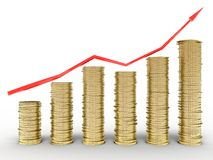 Growth charts from the tangled red arrows Stock Photo