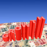 Growth with Chinese Yuan. Growth text graph on Chinese Yuan illustration Royalty Free Stock Photos