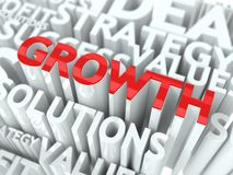 Growth Concept. The Word of Red Color Located over Text of White Color Stock Photos