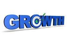Growth Concept. With sign, target and two arrows on green centre. On white background Royalty Free Stock Photos