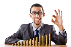Growth concept with coins and businessman Stock Photography