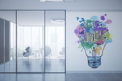 Growth concept. Contemporary office interior with equipment, city view, daylight and creative business sketch. Growth concept. 3D Rendering Stock Image