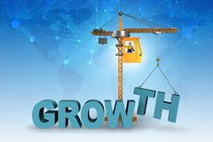 The growth concept with crane lifting letters. Growth concept with crane lifting letters Stock Photography