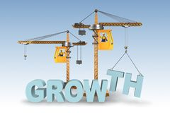 The growth concept with crane lifting letters. Growth concept with crane lifting letters Royalty Free Stock Photo