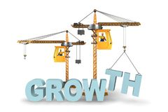 The growth concept with crane lifting letters. Growth concept with crane lifting letters Stock Photo