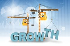 The growth concept with crane lifting letters. Growth concept with crane lifting letters Royalty Free Stock Image