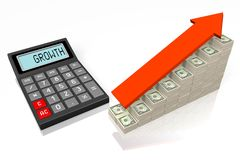 Growth concept. 3D calculator concept - on white background Royalty Free Stock Image