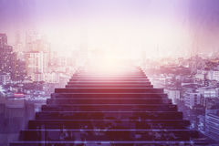 Growth concept. Front view of staircase on abstract bright city background. Growth concept. Double exposure Royalty Free Stock Photography