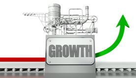 Growth concept with graph and machine Royalty Free Stock Photos