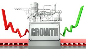 Growth concept with graph and machine Stock Photography