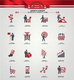 Growth concept icons,Red version.  Royalty Free Stock Image
