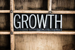 Growth Concept Metal Letterpress Word in Drawer. The word GROWTH written in vintage metal letterpress type in a wooden drawer with dividers Stock Photos