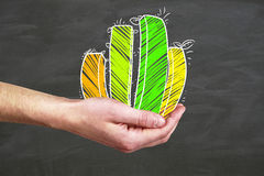 Growth concept. Side view of businessman`s hand holding green business chart on chalkboard background. Growth concept Stock Photos