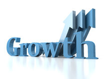 Growth concept text with arrows. 3d render illustration Stock Images